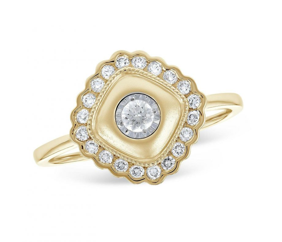 020302 - Diamond Frame Ring in Yellow Gold