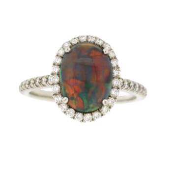 160557 - Black Opal Diamond Ring