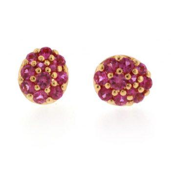 140823 -Pink Sapphire Cluster Stud Earrings