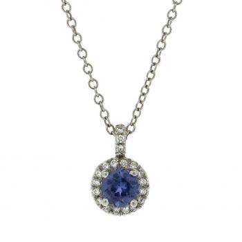 140837 - Purple Sapphire and Diamond Pendant
