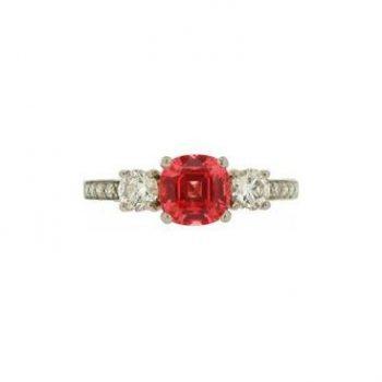 160556 -Orange Spinel Diamond Ring