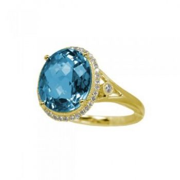 170501 - Blue Topaz And Diamond Ring