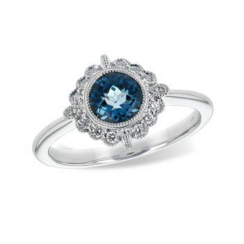 170572 - Blue Topaz and Diamond White Gold Ring