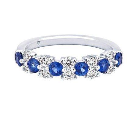 010506 - Platinum Diamond and Sapphire Wedding Band