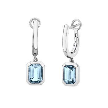 24101-HAQ - 393770 - Emerald Cut Aquamarine Dangle Earrings