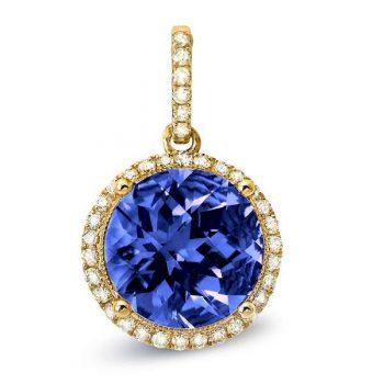 86590-PTZ - 393714 - Diamond Halo Tanzanite Pendant