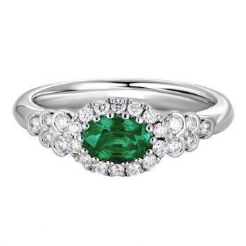 GR883LDW28EM - 120701 - Emerald Ring with Diamond Halo