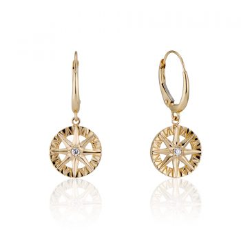 Compass Rose Dangles Earrings with Diamond