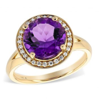 D5328 - 170500 - Amethyst and Diamond Halo Ring