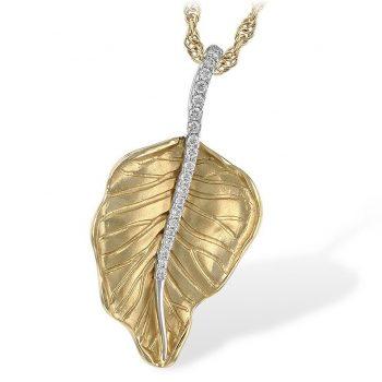 N7970 - 101309 - Autumn Leaf Necklace with Diamonds